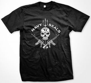 Navy Seal VI Crossed Machine Guns Skull Gothic Pride Veteran USA Mens