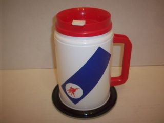 MOBIL GAS OIL PLASTIC COFFEE CUP TRAVEL MUG 24 oz.