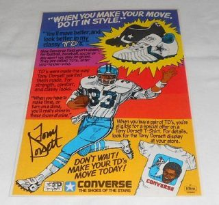1978 Dallas Cowboys TONY DORSETT Converse shoes ad page