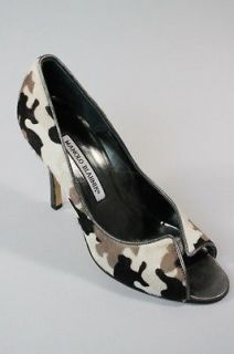 MANOLO BLAHNIK Multi Color Camouflage Pony Skin Open Toe Pumps Sz 37 7