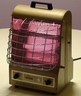 ELECTRIC SPACE HEATER FAN MACHINE AGE DECO STYLE w/ GLOWING COILS