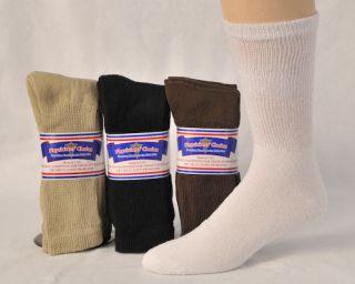 Diabetic Socks Multi Color Pack, White, Tan, Black, Brown (12 Pair