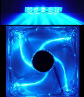 BLUE 4 LED Lights 120mm 12CM Quiet PC Computer Case Clear Fan & 5 LED