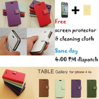 Ultra Thin Table Talk Flip PU Leather Case Cover Wallet For iPhone 4