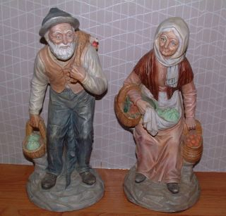 VINTAGE COLLECTIBLES OLD MAN WOMAN FIGURINES