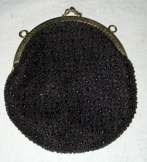 1940s ERA BLACK BEADED SMALL CLUTCH PURSE WITH GOLD TONE