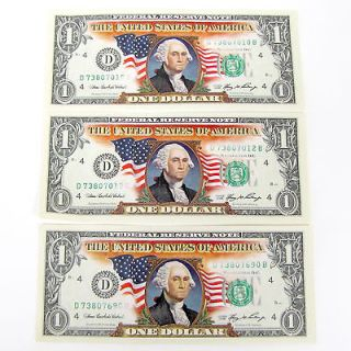 COLOR DOLLAR BILL $1 U.S. BANK NOTE COLLECTIBLE MINT IN BILL SLIPS