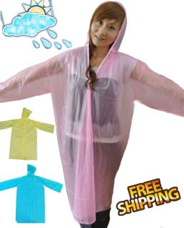 HIGH QUALITY TRANSPARENT PLASTIC VINYL RAINCOAT FOR ADULT 3 COLOR