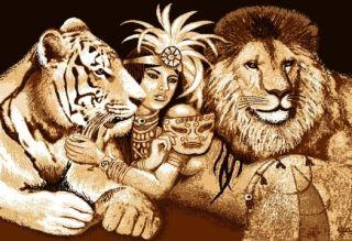 African Queen Jungle Princess Area Rug Modern Tiger Lion Big Cat