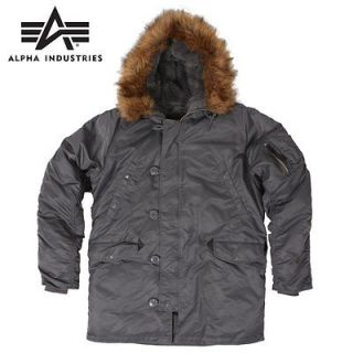 Alpha Genuine N 3B Parka Gun Metal   with DOWN   metal zipper