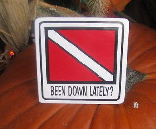 Self Adhesive decal , BEEN DOWN LATELY Diving Scuba Diver ATV hard hat