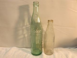 Vintage Glass Coca Cola Bottles One Pint Green Brooklyn And 10oz