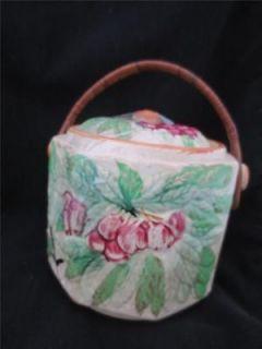 Vintage Biscuit Cookie Jar Majolica Cherries Basket weave Handle Japan