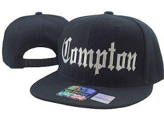 NEW LOS ANGELES VINTAGE STYLE FLAT BILL SNAPBACK CAP HAT COMPTON BLACK