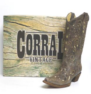 Corral Ladies Western Boots A1098 Brown Crater/ Bone Inlay and Studs