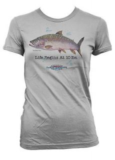 Life Begins At 10 Pounds Giant Rainbow Trout Fisherman Sports Juniors
