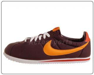 Nike Classic Cortez Light Nylon Burgundy Orange Mens Casual Run Shoes