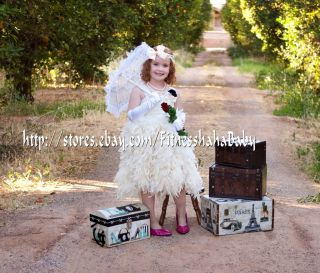 bride flower girl birthday Surprise Couture Feather Dress ivory 1T 2T