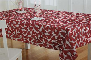 Valentines Day White Red Jacquard Hearts Tablecloth Oblong 60X84