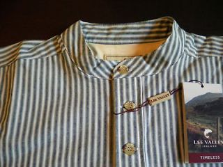 New Irish Lee Valley grandfather shirt mens cotton blue green striped