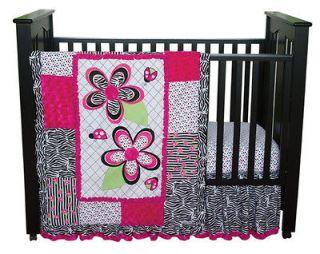 PINK ZEBRA PRINT FLOWERS LADY BUGS GIRL 4pc+Valance Nursery crib set