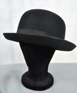 VINTAGE Style Black Felt Bowler Hat BNWT/NEW 100% Wool Derby Hat Men S