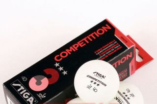 12x Stiga Competition 3Star Table Tennis Balls, White Color, New