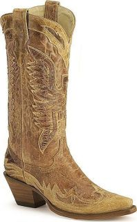 Womens Vintage Handmade Corral Eagle Boot in Distressed Brown Leather