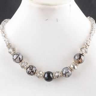 Dragon Veins Agate Gemstone & Crystal Glass Bead Spacer Necklace