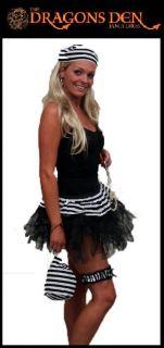 Cyber Tutu Prisoner Convict Girl Fancy Dress Hen Party Black & White