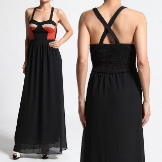 Bustier CHIFFON MAXI DRESS Smocked Cross Back Long Party Gown