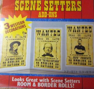 COWBOY WESTERN WANTED POSTERS SCENE SETTER DECORATIONS
