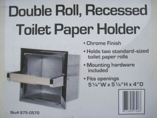 DOUBLE ROLL RECESSED TOILET PAPER HOLDER CHROME FINISH HOLDS 2