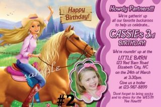 Cowgirl Western Custom Birthday Party Invitation You Print Photo