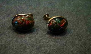 1950s Green & Red Lucite Scarab Earrings Screw Back