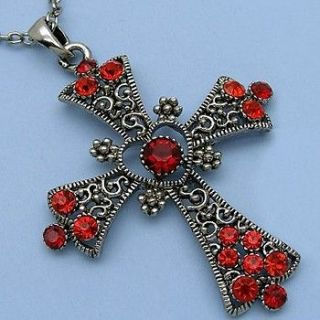 New Antique Style Red Cross Rhinestone Crystal Necklace