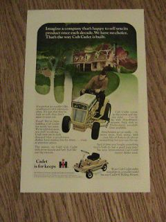 CUB CADET LAWN MOWER GARDEN TRACTOR VINTAGE AD attachments