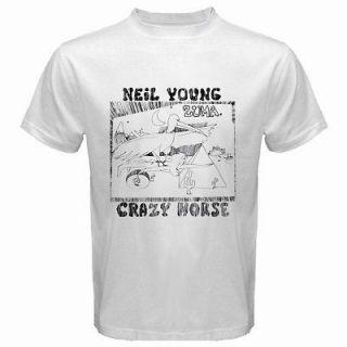 New Neil Young Crazy Horse Zuma Mens White T Shirt Size S M L XL 2XL