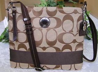 Coach Signature Stripe File Crossbody Bag Purse Khaki Mahogany 19220