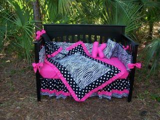 New Crib Bedding Set POLKA DOTS Zebra HOT PINK fabrics