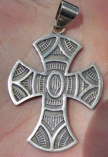 JESUS LAMELI MEXICO 950 STERLING SILVER CROSS PENDANT HALLMARKED
