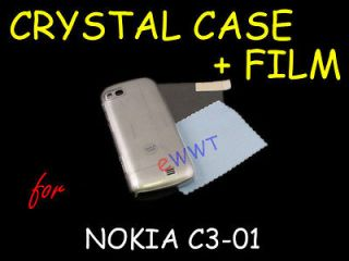 Crystal Clear Plastic Cover Hard Case + Screen Protector for Nokia C3
