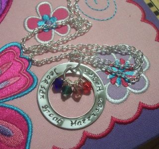 Custom Made Hand Stamped Mothers Birthstone Necklace Mom Pendant