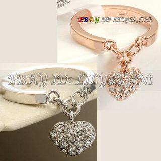 R138 Fashion Heart Charm Ring 18K GP use Swarovski Crystal