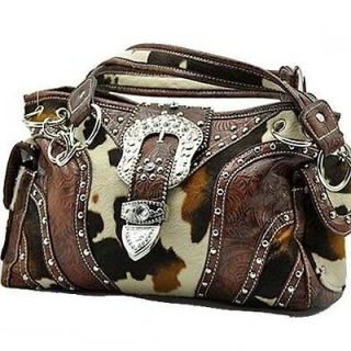 Western Cowgirl Women Purse Handbag Cow Print Brown White Belt Buckle