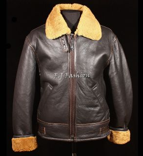 Mens B3 Brown Ginger RAF WW2 Real Shearling Sheepskin Bomber Leather