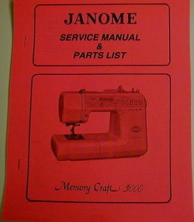 Janome Memory Craft 3000 Sewing Machine Service Manual And Parts List