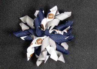 WhiteNavySil ver Dallas Cowboys Korker Hair Bows (Handmade)