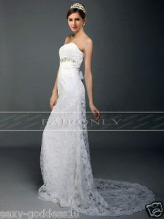 New White,Ivory Lace ,Swarovski Crystal,Trumpe t Bridal Wedding Dress