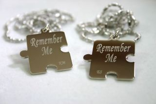 PERSONALIZED PUZZLE PIECES PENDANTS NECKLACE PAIR